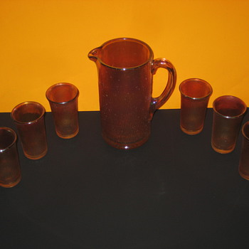 Orange Pitcher set - Glassware