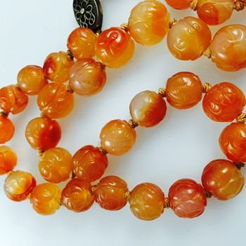 "Antique Chinese Carved ""Man on the Moon"" Faces Carnelian Bead Silver Necklace 22"" - Fine Jewelry"