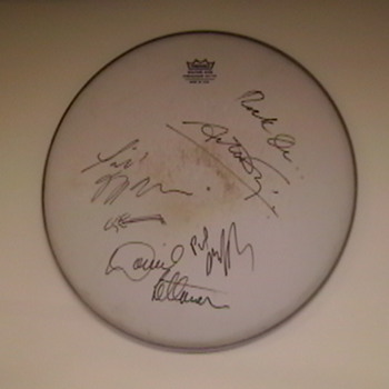 "Drumhead Autographed by David Letterman and ""The World's Most Dangerous Band"""