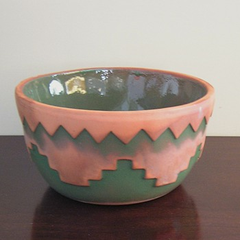 Terracotta bowl with Native American influence. Help needed with maker - Art Pottery