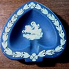 "Wedgwood ""Cobalt"" Jasperware Heart Shaped Ash Tray/ Greek Goddess Design / Circa 1950-60"