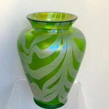 Bohemian Kralik? Purple Feathered Green Iridescent Cabinet Vase - Art Glass