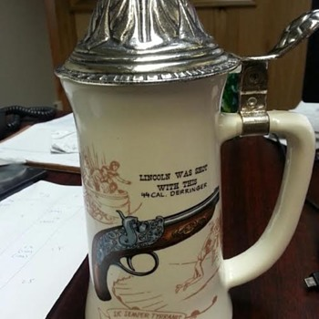 Beer Stein with Gun that shot Lincoln - Breweriana