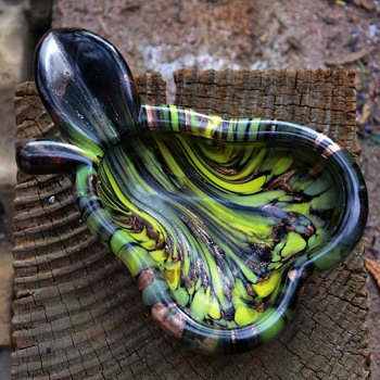 Glass Pear Ashtray or Bowl - Art Glass