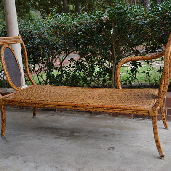 Bamboo Rattan Chaise Lounge Wrought Iron Steel Spotted Bench Couch - Help Identify Please - Furniture