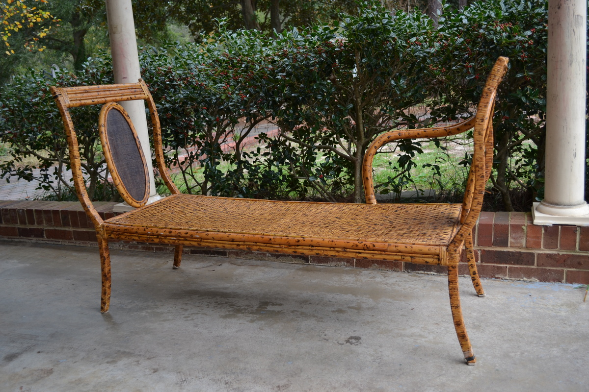 Bamboo rattan chaise lounge wrought iron steel spotted for Bamboo chaise lounge