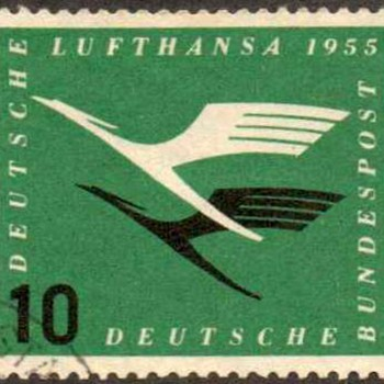 "1955 - W. Germany ""Air Mail Service"" Postage Stamp - Stamps"