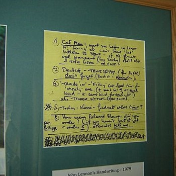 "John Lennon handwritten""To Do"" list-circa.1979..."