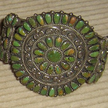 Green turquoise & sterling Navajo assembled bracelet - Native American
