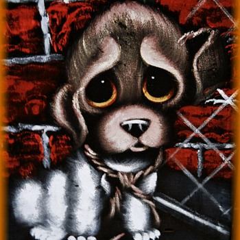 Vintage VELVET PAINTING -- Big Eyed SAD Puppy  - Visual Art