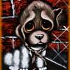 Vintage VELVET PAINTING -- Big Eyed SAD Puppy