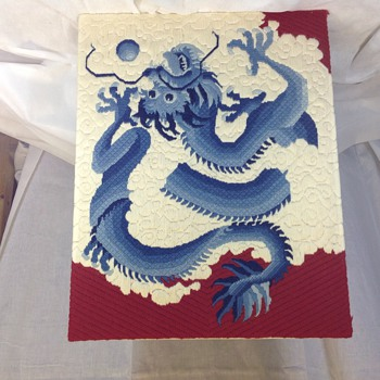 Vtg Asian needlework of dragon - Asian
