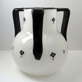 Loetz Black and White Tri-handled Tango Vase - Art Glass