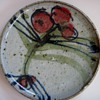 Pottery Plate with Beautiful Hand-painted Glaze~Signed but difficult to make out