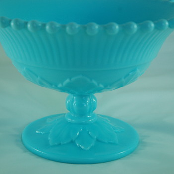 IMPERIAL BLUE MILK GLASS COMPOTE