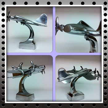 Polished Aluminum Art Deco Aeroplane Desk Sculpture - Art Deco