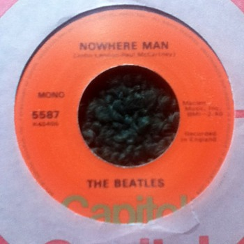 "The Beatles - ""Nowhere Man"" & ""What Goes On"" 45 Record"