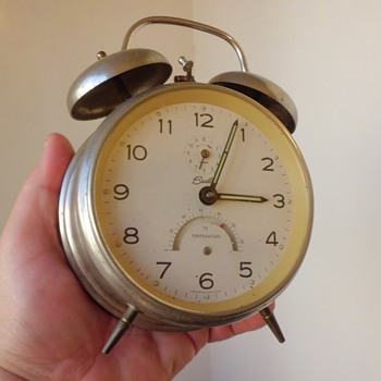 Bradley West German made twin bell alarm clock with thermometer