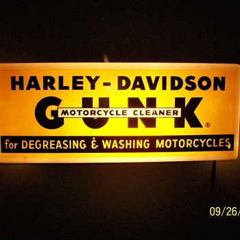 "1950's Harley-Davidson Lighted ""GUNK"" Dealer Sign - Motorcycles"