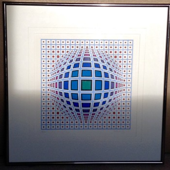 Victor Vasarely Vega in Blue Hand Signed Numbered Serigraph