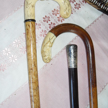 ANTIQUE IVORY/SILVER WALKING CANES