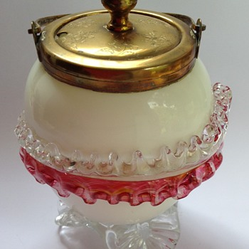 Victorian glass lidded jar with applied acanthus leaf