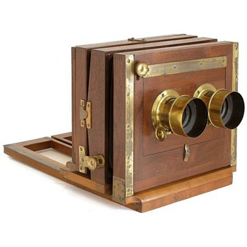 American Stereo Wetplate Camera by John Stock - late 1860s - Cameras
