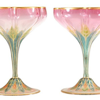 Lobmeyr Art Nouveau Stems. - Art Glass