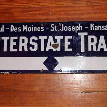 Interstate trail Sign 1913 National enameling Co Cincinnati O - Signs
