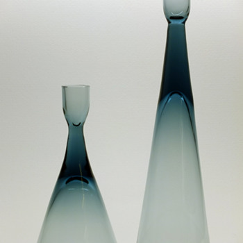 Bengt Edenfalk for Skruf - Two candleholders.