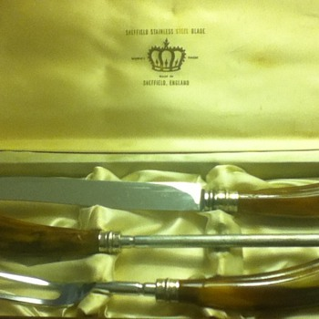 Vintage Sheffield Stainless Steel Carving Set - Kitchen