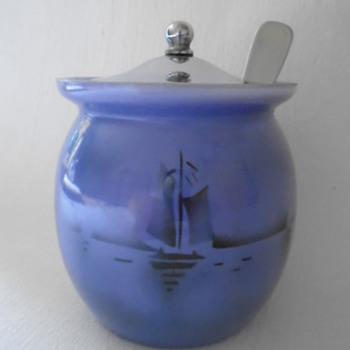 Czech Art Deco Tango Glass Jam Pot