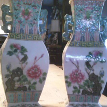 Pair of Antique Chinese Matching Vases - Asian