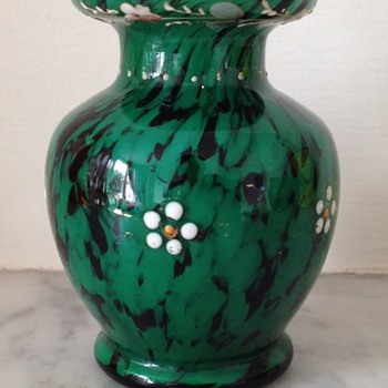Franz Welz green and oxblood enamelled glass bud vase