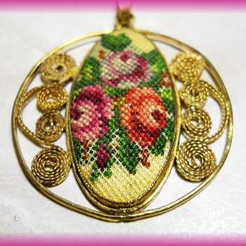 Embroidery Pendant -- Vintage - Costume Jewelry