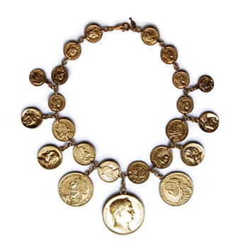 Vintage Trifari Coin Charms Necklace - Costume Jewelry