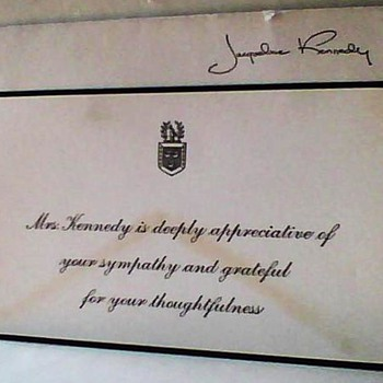 1963 JFK Thank You Card