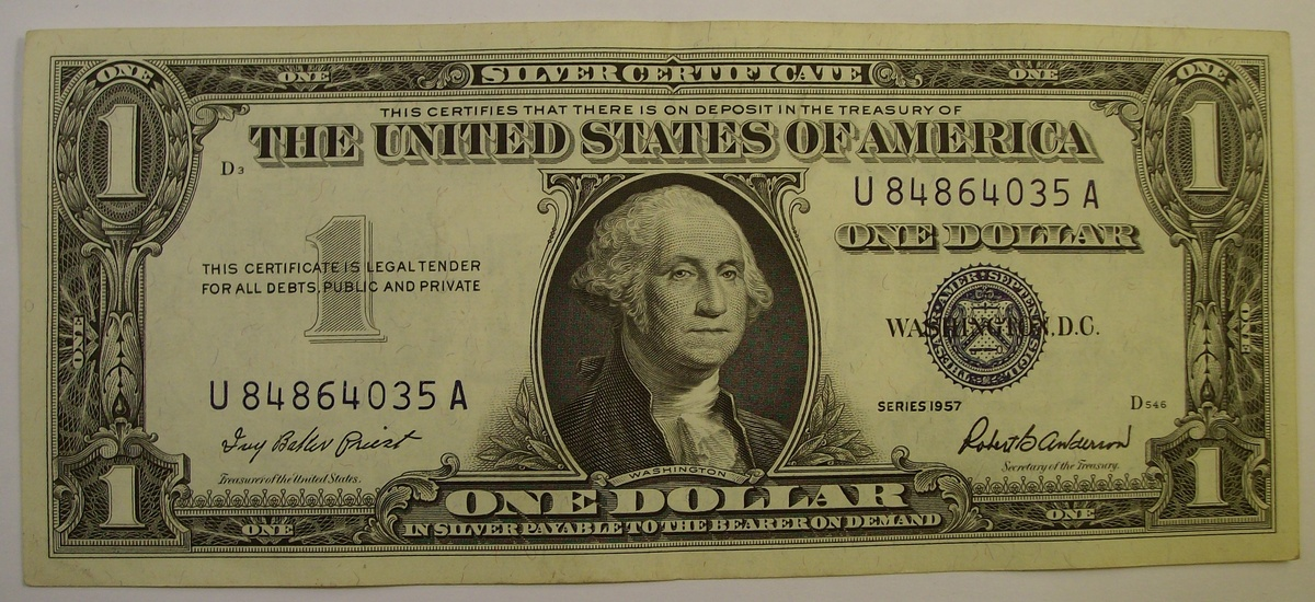 1 00 Blue Seal Silver Certificates Dating 1935 Amp 1957