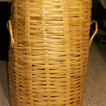 Huge Basket W/ Removable Lid Stamped Mexico  - Native American