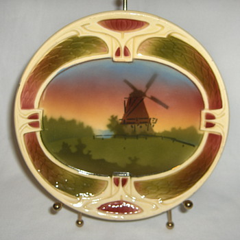Hungary Jugendstil Majolica Dessert Plate Marked Initials SZ