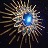 Cobalt Blue Starburst Rhinestone Brooch ca 1950