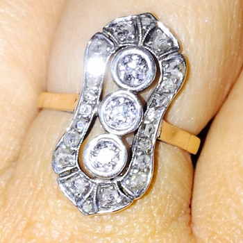 Antique Victorian Old Mine & Rose Cut Diamond Silver Gold Ring  - Fine Jewelry