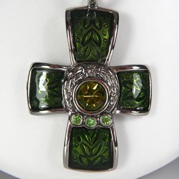 Basse Taille Enamel Cross Pendant - Costume Jewelry