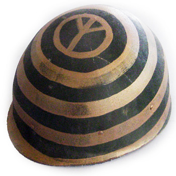 1960s Anti-War Protest Helmet w. Painted Peace Symbol - Folk Art