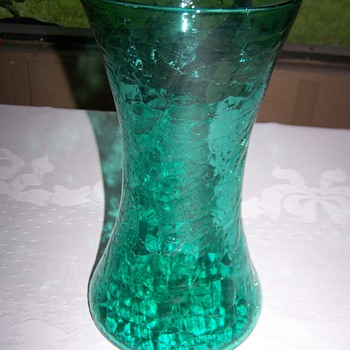 Mid Century Crackle Glass Cylinder Green Vase - Art Glass