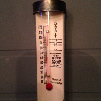Egg Cooler Thermometer: Glass Contained Advertisement - Advertising