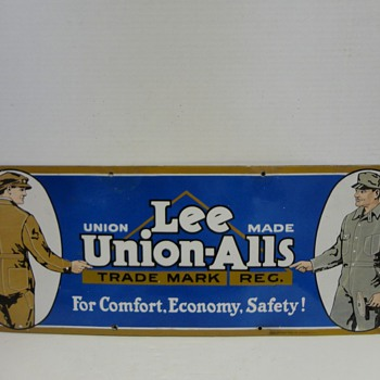 "1920's Levi Lee Union Alls Advertising Porcelain Sign VERY RARE 30"" x 11"" - Signs"