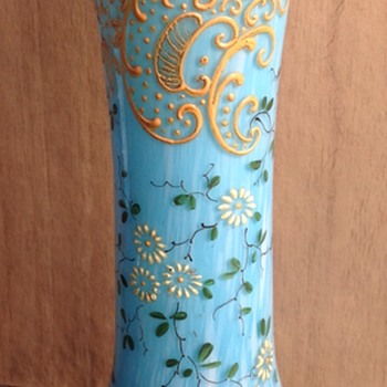 Highly Decorated Blue And White Spatter Vase.