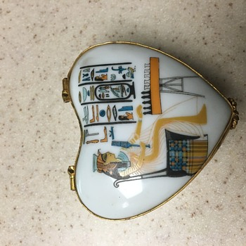 Egyptian Revival Heart-shaped Box - Pottery