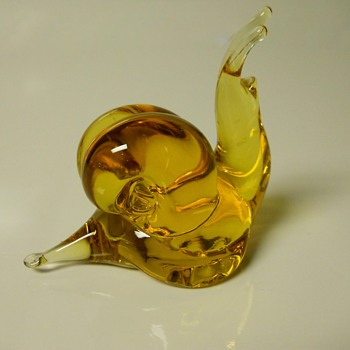 "Amber Art Glass ""Snail"", Sign ??,Circa Mid 20 Century"